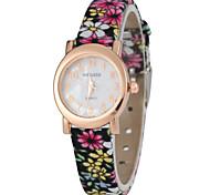 Women's Tiny Design Dial Flower PU Band Quartz Watch