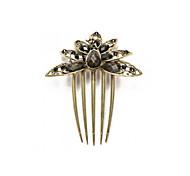 Hair Comb Bridal Black Resin Vintage Brass Metal 5 Teeth Chic 106x87mm