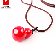 Chinese Red Porcelain Bottle Gourd Lovers Necklace Pendant