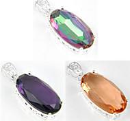 vacanza ovale arcobaleno fuoco mistico topazio morganite ametista gemma 925 ciondoli in argento per le collane per la festa nuziale 1pc