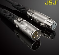 JSJ® 5M 16.4FT XLR Male to Female Microphone Cable Gold-Plated Black for KTV