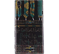 Black Feather Patterns TPU Soft Case for Sony Xperia T3