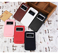 For Samsung Galaxy Case with Stand / with Windows / Flip Case Full Body Case Solid Color PU Leather Samsung Grand 2