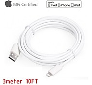 Apple MFi Certified Lightning to USB Cable Date Sync Charging for iPhone 6 6Plus 5S 5 5c iPad Air mini 4(300cm)
