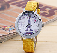 Ladies Fashion Silver Shell Tower Round Belt China Watch Movement(Assorted Colors)