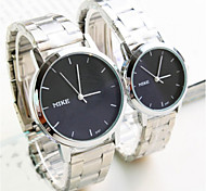 Korean Version Of The Simple Round Black Plate Waterproof Stainless Steel Couple Watch