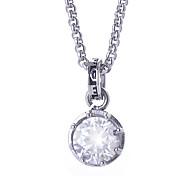 Men Women Vintage Ancient Silver Plated Stainless Steel Metal Round Zircon Pendants Necklaces 60cm