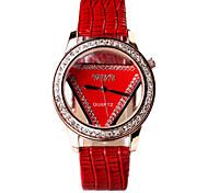 circular hueca reloj de cuero triangular dama xinzhesanjiao