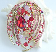 Women Accessories Gold-tone Red Pink Rhinestone Crystal Flower Brooch Art Deco Crystal Brooch
