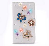 mariposa colorida diamante hecho a mano de la PU cuero caso de cuerpo completo con pie de apoyo para el Samsung Galaxy Note 2/3/4/5