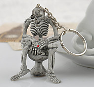 The Toilet Skeleton Keychain(Old Silver)(1PC)
