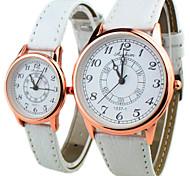Couple's Round Dial PU Band Quartz Fashion dress wrist Watch