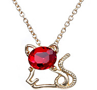 Cute Little Kitty Fashion Crystal Pendant Necklace