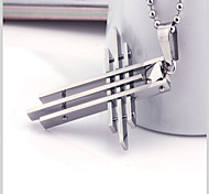 Fashion Individuality Cross Titanium-Steel Pendant(Steel Color)(1Pc)