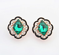 Hot Sale For 2015 Free Shipping Flower Shaped Glass Crystal Earrings For Women