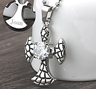 Personalized Gift Stainless Steel Cross Shaped Pendant Necklace Engraved Jewelry