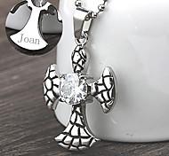 persönliches Geschenk Edelstahl-Kreuzförmigen Anhänger Halskette graviert Schmuck