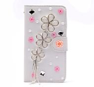handgefertigte Diamant-Blumen Quaste PU-Leder Ganzkörper-Fall mit Ständer für Samsung Galaxy Note 2/3/4/5