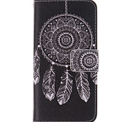 White Dreamcatcher Pattern PU Leather Full Body Case with Stand and Protective Film for HTC One M8 Mini