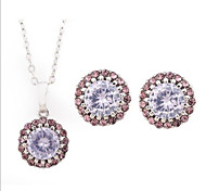 Z&X® Alloy Fashion Rhinestone Round Jewelry Set Party/Daily 1set(Including Necklaces/Earrings)