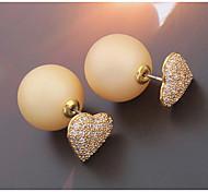 Latest Design Gold Heart Shaped Zircon Crystal Pearl Earring Double Sided Pearl Earring Cheap Pearl Earring For Women