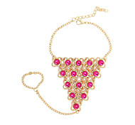 KL Green Pink Crystal Opal Triangle Chain Ring Bracelet for Woman CB061