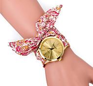 Blumenbaumwollband Armbanduhr für die Dame (lila / rose rot / pink / Licht Kaffee / blau / schwarz / multicolor) (1pc)