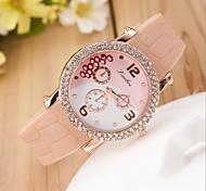 relógio movimento da moda terceiro olho quartzo diamante mão catenária silicone das mulheres (cores sortidas)