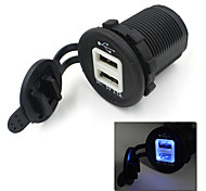Dual USB Car Cigarette Lighter Socket 12V Charger Power Adapter Outlet Free Ship