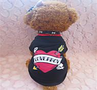 Cães Camiseta Preto Verão Corações