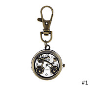 Lovely fashion Hollow Bicycle Pendant Brass Pocket Watch with Chain for Men Women Ladies Students Gift Key Ring Watch