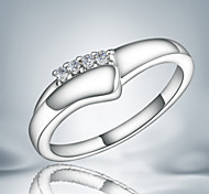real 925 silver plated cute girl gift band ring