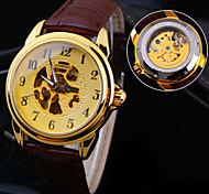 novo espelho de vidro mineral mostrador redondo banda de couro genuíno moda impermeável relógio mecânico dos homens