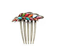Hair Comb Bridal Leaf Multicolor Resin Vintage Brass Metal 5 Teeth Chic 80x79mm