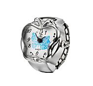 Creative Butterfly Fashion Lady Girl Steel Round Elastic Quartz Finger Ring watch women