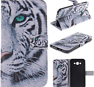White Tiger Design PU Leather Full Body Case with Stand and Card Slot for Samsung Galaxy E7/E700