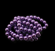 Beadia 3 Str(approx 430pcs) Glass Beads 6mm Round Imitation Pearl Beads Purple Color DIY Spacer Loose Beads
