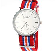 Unisex Casual Fabric Strap Silver Case Quartz Wrist Watch