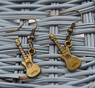 Exquisite Guitar Shaped Bronze Earrings
