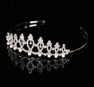 Bridal Crown Silver Tiara Queen Flower Leaf Butterfly Crystal/Diamond  Flower Hairclips Headpiece Wedding/Party