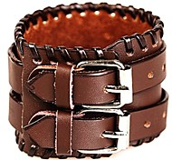 Euramerican Vintage Style Individuality Leather Bracelet(Black/White/Red/Brown)(1Pc)