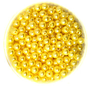Beadia 100g(Approx 1000Pcs)  ABS Pearl Beads 6mm Round Yellow Color Plastic Loose Beads For DIY Jewelry Making