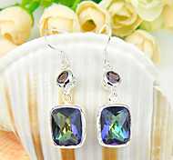 Gift for Friend Fire Color Mystic Topaz Amethyst Gem 925 Silver Stud Earrings For Wedding Party Daily Holiday 1Pairs