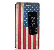 teste padrão da bandeira americana com janelas inteligente pu material do caso com suporte para Huawei p8