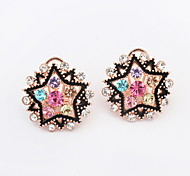 Hot Sell For 2015 Multicolor Crystal Earrings Free Shipping Five-pointed Star Shaped Crystal Alloy Earrings