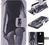 Sexy Girl Design PU Leather Stand Case with Card Slot for Sony Xperia E1