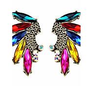 Bright Multicoloured Gem Tassel Rhinestone Drop Earrings