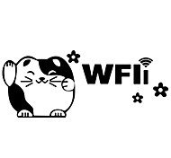 Lovely Fortune Cat Wifi PVC Wall Sticker Glass Decals