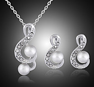 Lucky Doll Women's Vintage 925 Silver Plated mitation Pearl Zirconia Note Necklace & Earrings Jewelry Sets