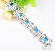 cielo de fuego ronda topacio azul gema 0.925 de plata de la cadena de la vendimia pulseras brazaletes para la fiesta de la boda de fiesta